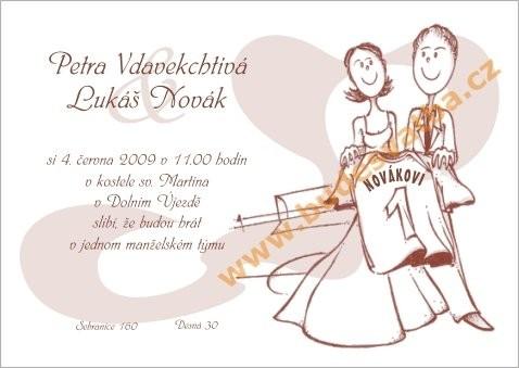 """Svatební oznámení """"Dres (bílé pozadí)"""""""